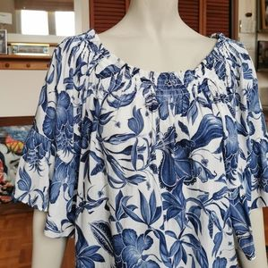 H&M blue and white off the shoulder blouse